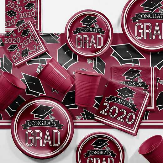 DTCBNGDY2H: Graduation School Spirit Burgundy Party Supplies Kit