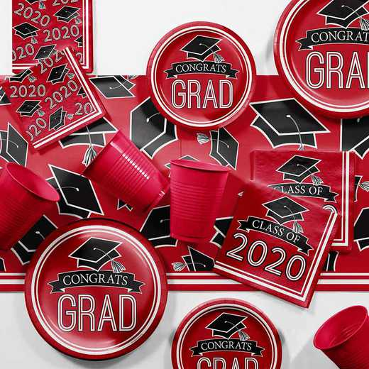 DTCCLRED2H: Graduation School Spirit Red Party Supplies Kit