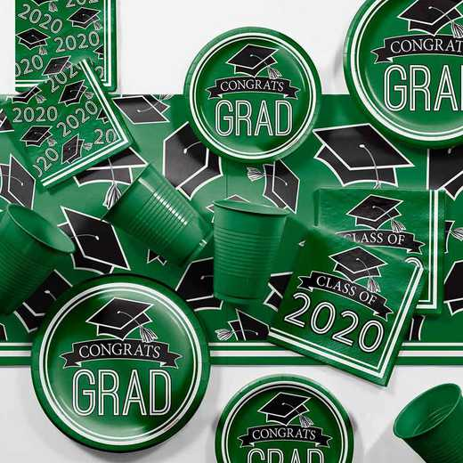 DTCGREEN2H: Graduation School Spirit Green Party Supplies Kit