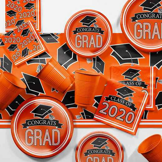 DTCORNGE2H: Graduation School Spirit Orange Party Supplies Kit