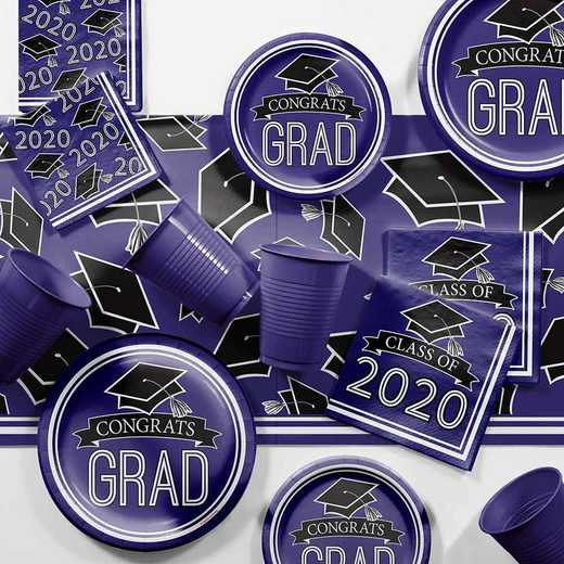 DTCPURPL2H: Graduation School Spirit Purple Party Supplies Kit