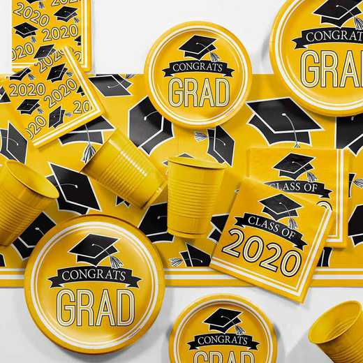 DTCSBYLW2H: Graduation School Spirit Yellow Party Supplies Kit