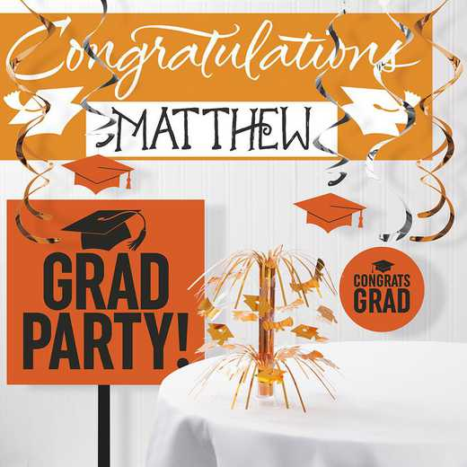 DTCORNGE1A: CC Graduation School Spirit Orange Decorations Kit