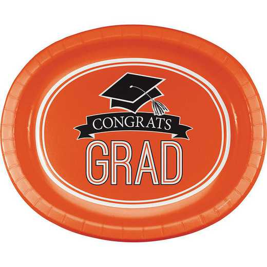 DTC320069OVAL: CC Graduation School Spirit Orange Oval Plates - 24 Count
