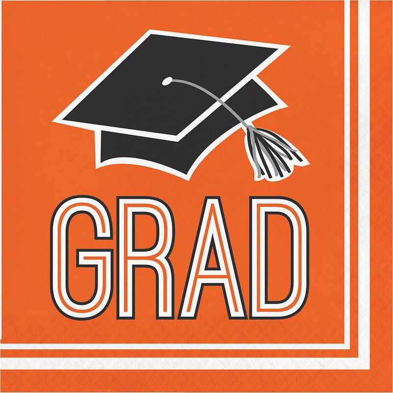 DTC320066NAP: CC Graduation School Spirit Orange Napkins
