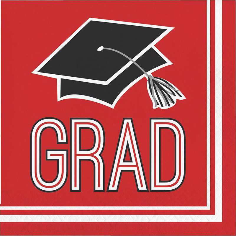 DTC320082NAP: CC Graduation School Spirit Red Napkins