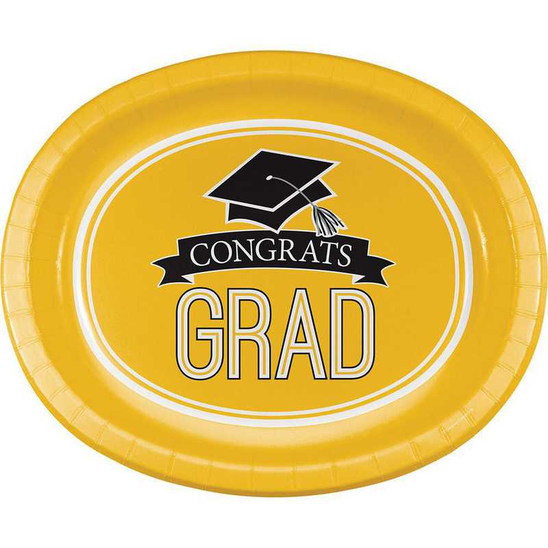 DTC320101OVAL: CC Graduation School Spirit Yellow Oval Plates - 24 Count