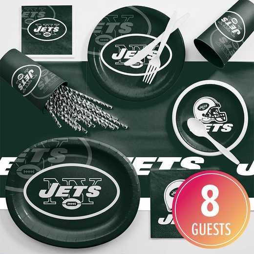 DTC9522C2C: CC New York Jets Ultimate Fan Party Supplies Kit 8ct