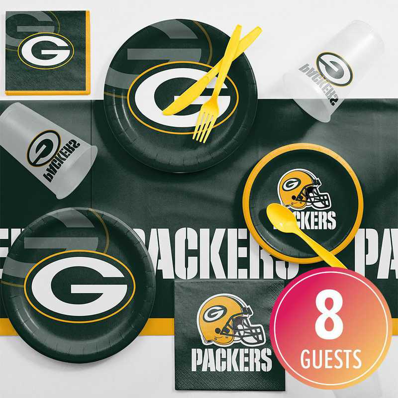 DTC9512C2A: CC Green Bay Packers Game Day Party Supplies Kit 8ct