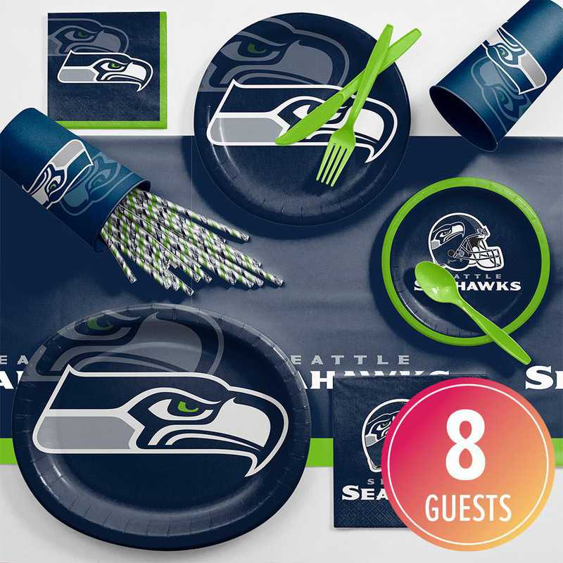 DTC9528C2C: CC Seattle Seahawks Ultimate Fan Party Supplies Kit 8ct