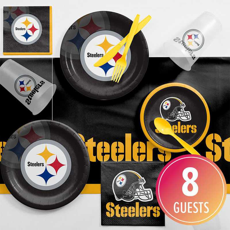 DTC9525C2A: CC Pittsburgh Steelers Game Day Party Supplies Kit 8ct