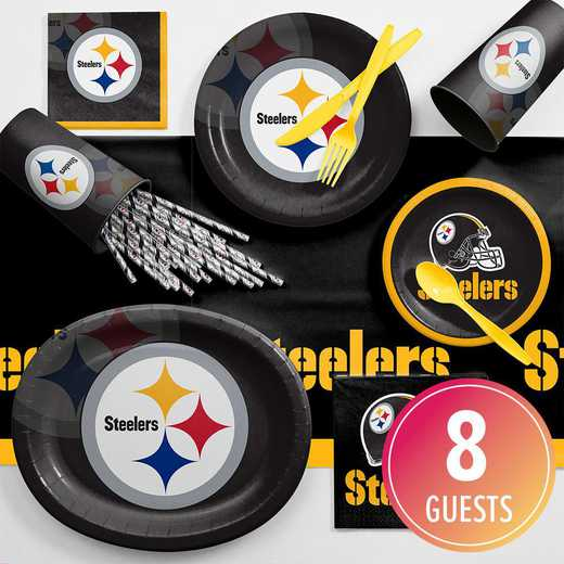 DTC9525C2C: CC Pittsburgh Steelers Ultimate Fan Party Supplies Kit 8ct