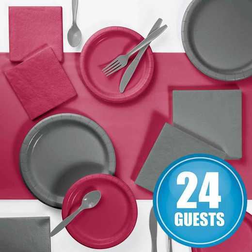 DTCBGGRY2A: Gray and Burgundy Party Supplies Kit