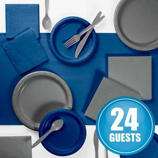 DTCNVGRY2A: Gray and Navy Party Supplies Kit