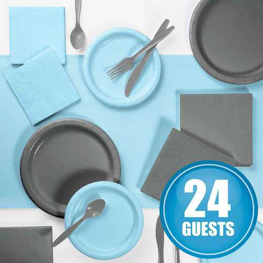 DTCPBGRY2A: Gray and Pastel Blue Party Supplies Kit