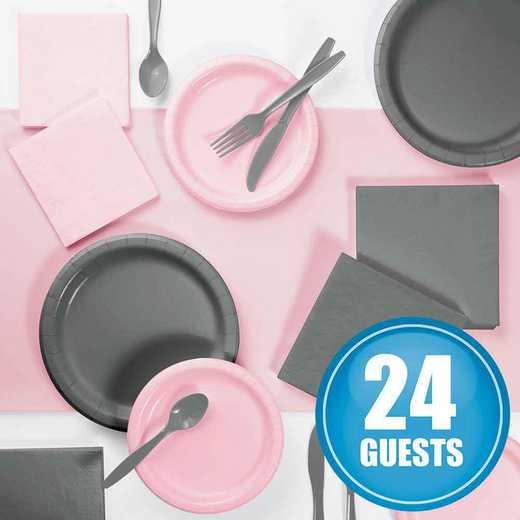 DTCPKGRY2A: Gray and Classic Pink Party Supplies Kit