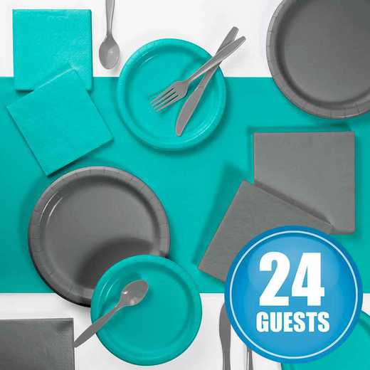 DTCTLGRY2A: Gray and Teal Party Supplies Kit