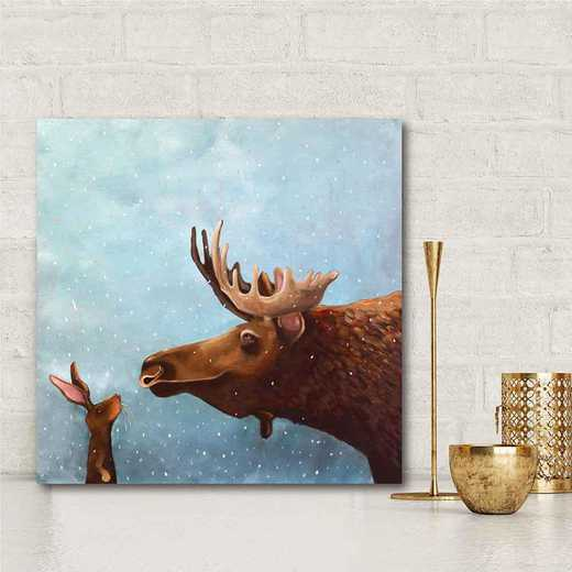 Moose and Rabbit  Gallery-Wrapped Canvas Wall Art