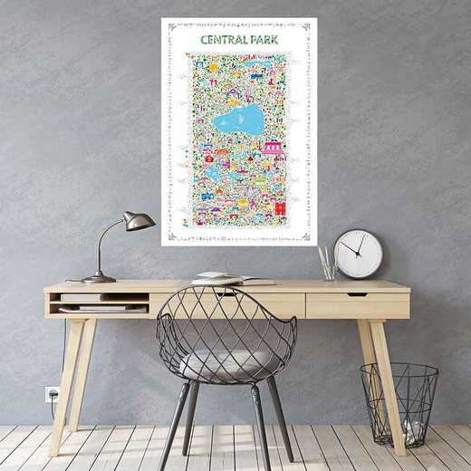 """DEC-TS589-24x36: CM Map Wall Decal-Central Park 24""""x36"""" Gallery Art Decal"""