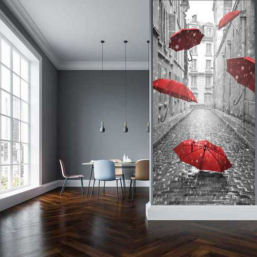 "MUL-BW201-96x45: Courtside Market Floating Umbrellas 96""x45"" Mural"