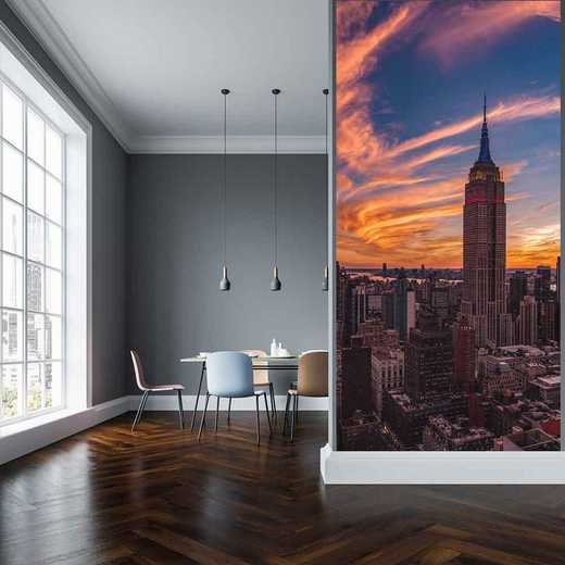 "MUL-CS151-96x45: Courtside Market 9-11 New York Sunset 96""x45"" Mural"