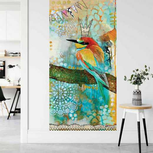 "MUL-KRR213-96x45: Courtside Market Crowned Bird 96""x45"" Mural"