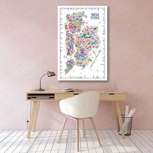 Map- New York City  Gallery-Wrapped Canvas Wall Art