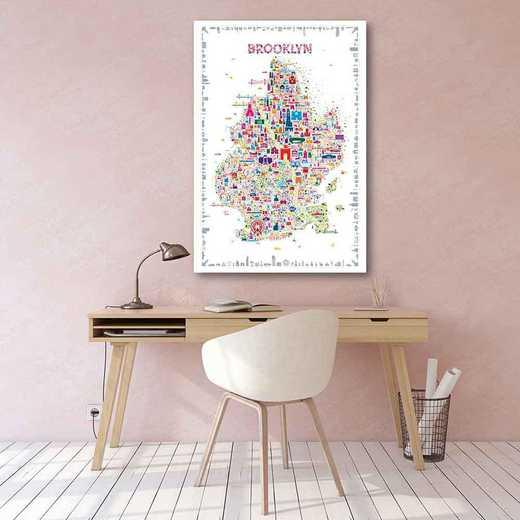 Map New York City-Brooklyn Brooklyn  Gallery-Wrapped Canvas Wall Art