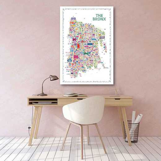 Map New York City-The Bronx  Gallery-Wrapped Canvas Wall Art