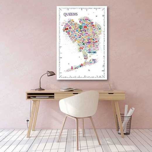 Map New York City -Queens  Gallery-Wrapped Canvas Wall Art
