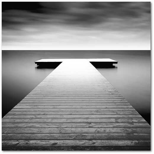 "Idyllic Lake Jetty 16""x16"" Gallery-Wrapped Canvas Wall Art"