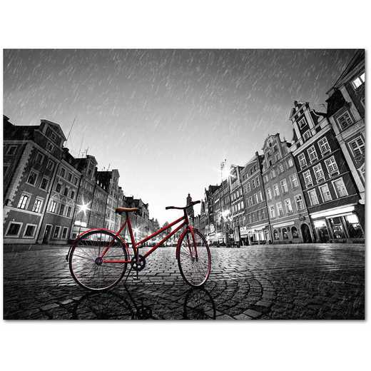 "RED BIKE ON COBBLE STONE STREET 16""x20"" Gallery-Wrapped Canvas Wall Art"