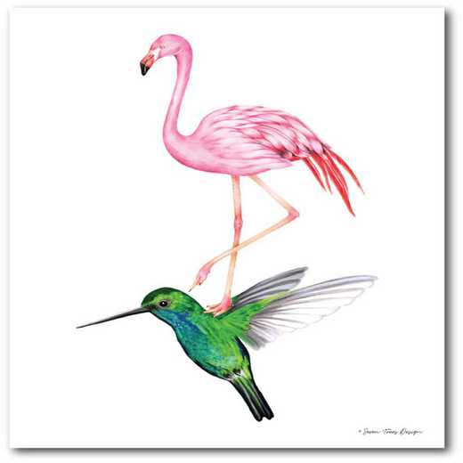 Flamingo and hummingbird Gallery-Wrapped Canvas Wall Art