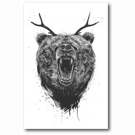 WEB-MV340-12x18: Angry Bear With Antlers , 12x18
