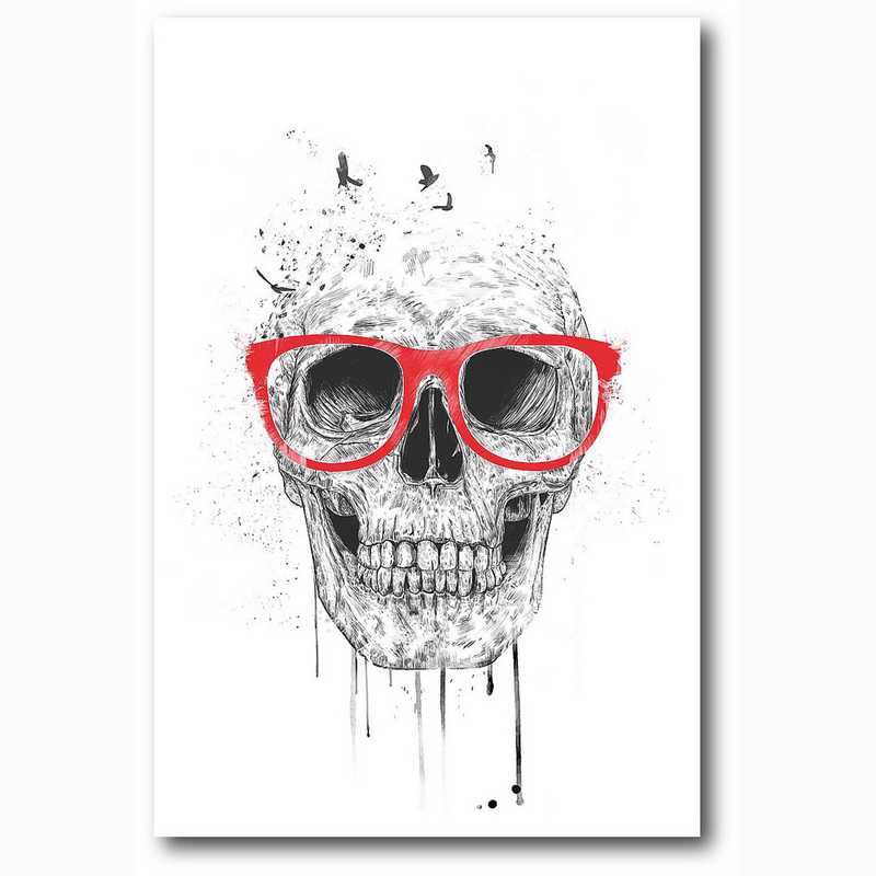 WEB-MV350-12x18: Skull With Red Glasses , 12x18