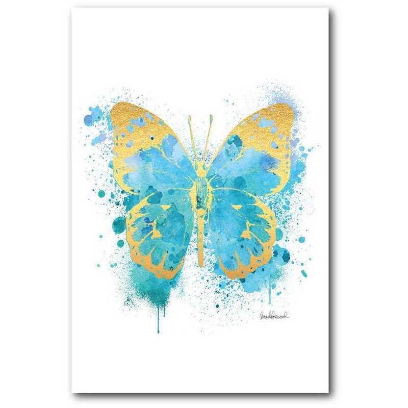 WEB-TS309-12x18: CM Cyan and gold butterfly  Wall Art- 12