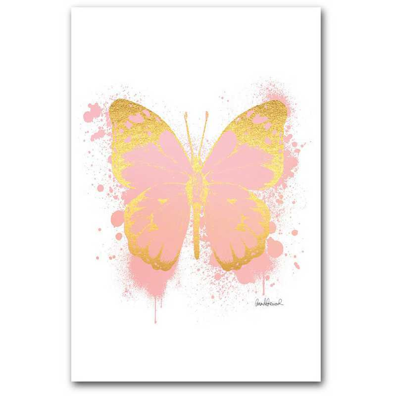 WEB-TS310-12x18: CM Pink and gold butterfly  Wall Art- 12