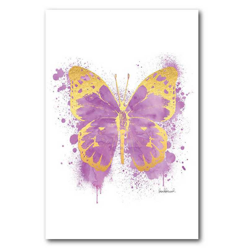 WEB-TS311-12x18: CM Purple and gold butterfly  Wall Art- 12