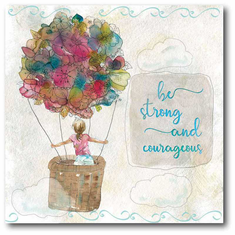 WEB-T834-16x16: CM Sketchbook Strong and Courageous  Canvas  - 16x16