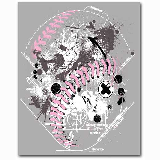 WEB-TS107-16x20: Pink/Grey Softball, 16x20