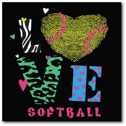 WEB-TS110-16x16: Love Softball, 16x16
