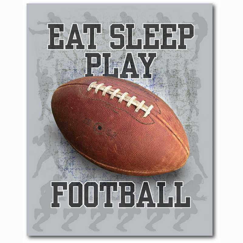 WEB-TS112-16x20: Eat Sleep Play Football, 16x20