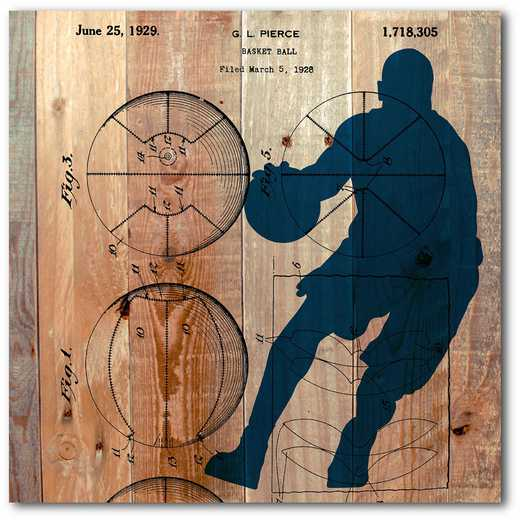 WEB-TS139-16x16: Basketball on Wood, 16x16