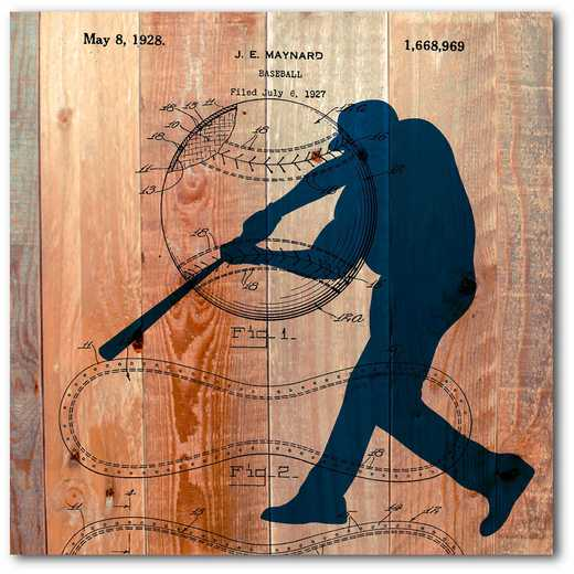 WEB-TS140-16x16: Baseball on Wood, 16x16