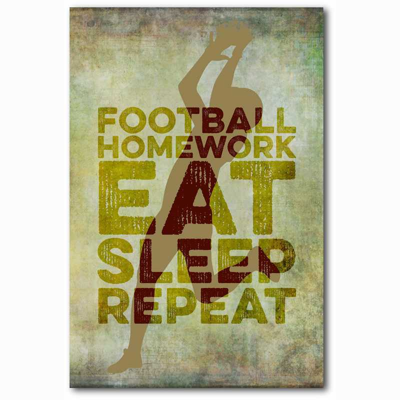 WEB-TS144-12X18: Eat Sleep Repeat Football, 12x18