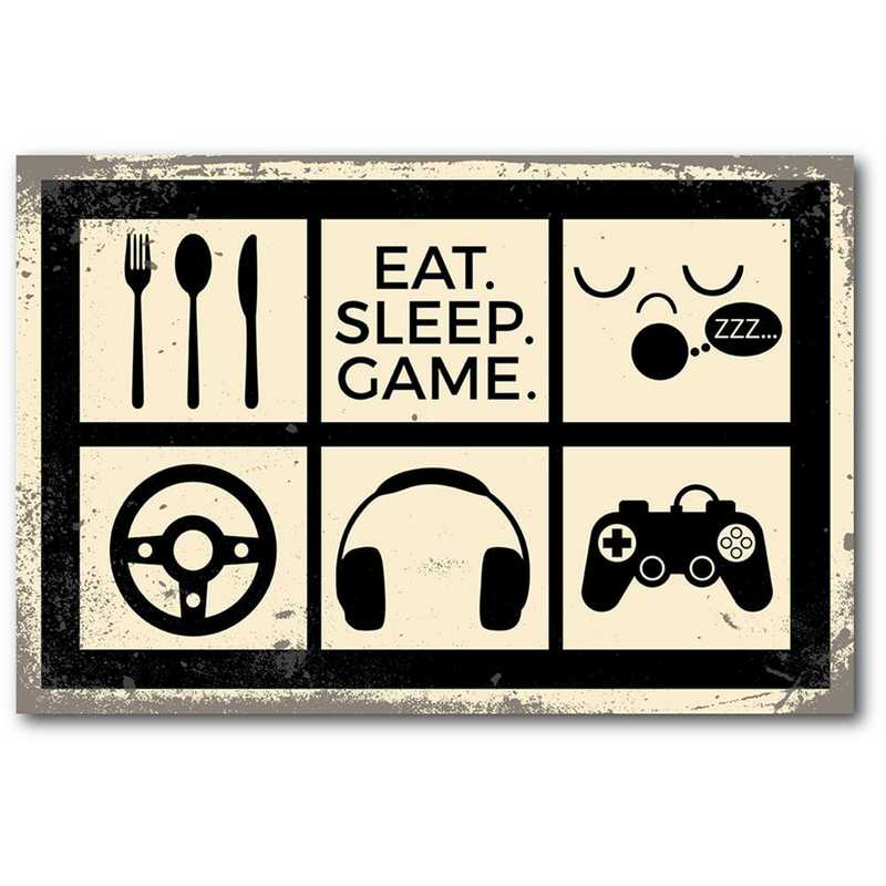 WEB-TS352-12x18: CS Eat Sleep Play Games  Canvas 12