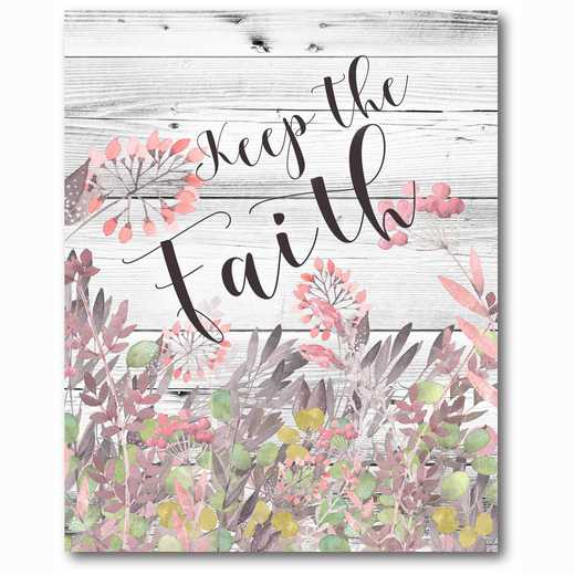 WEB-TS233-16x20: Keep The Faith FloralWatercolorWood16x20