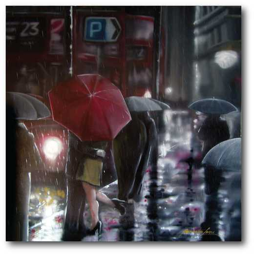 WEB-MV391-20X20: Romance in the Rain I , 20x20