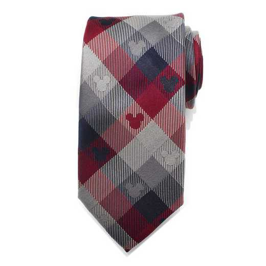DN-MPLD-RWB-TR: Mickey Mouse Red and Blue Plaid Men's Tie