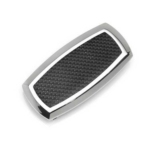 OB-STL-BLK-MC: Stainless Steel Inlaid Black Carbon Fiber Money Clip